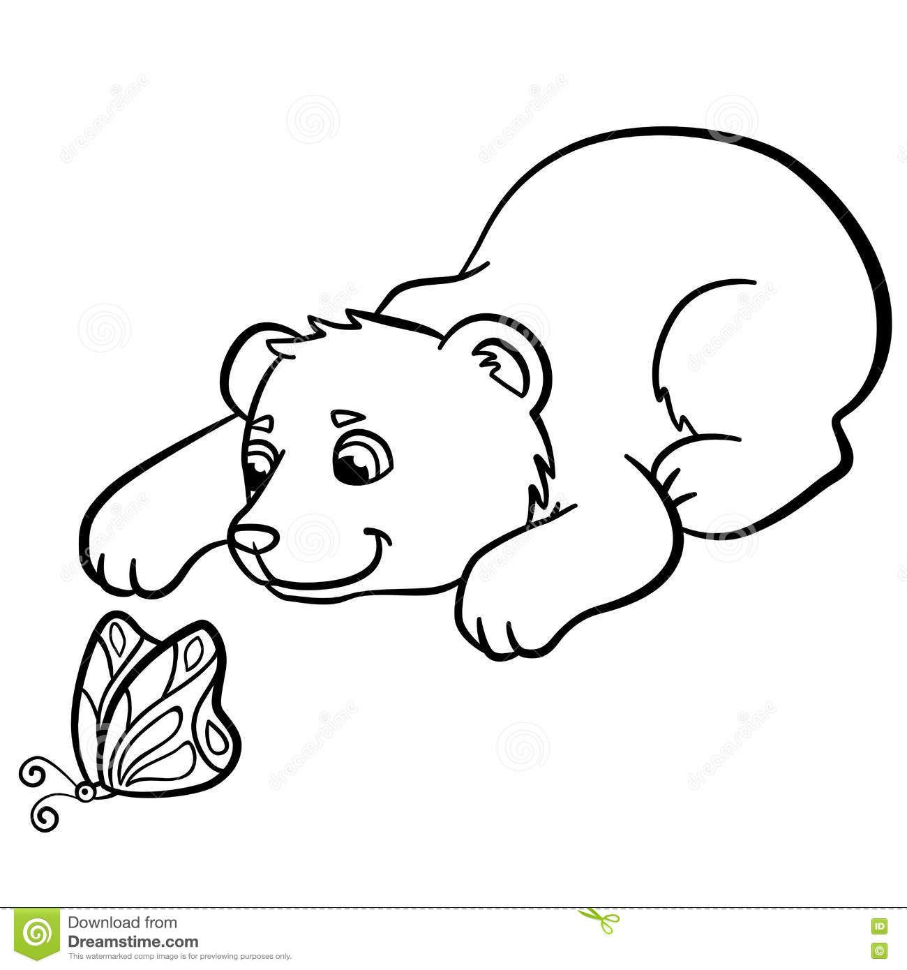 1300x1390 Coloring Pages Wild Animals Little Cute Baby Bear Looks Butterfly