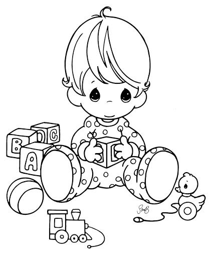 421x512 Precious Moments Coloring Page Toddler Playing With Blocks