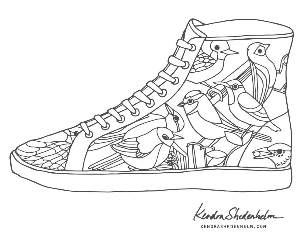 1000x773 Pleasurable Design Ideas Shoe Coloring Page Birds Doodles Shoes