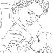 220x220 Pediatric Nurse Bottle Feeding A New Born Baby Coloring Pages