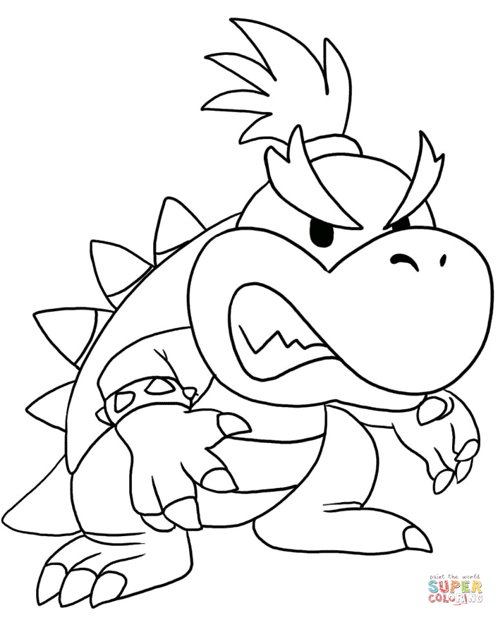 706x879 Bowser Coloring Pages Free Regarding Page Idea