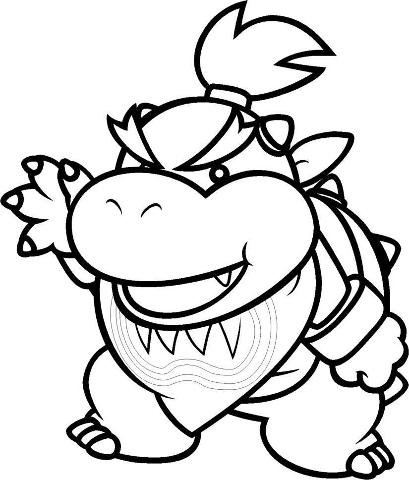 825x968 Baby Bowser Coloring Pages Tearing Page