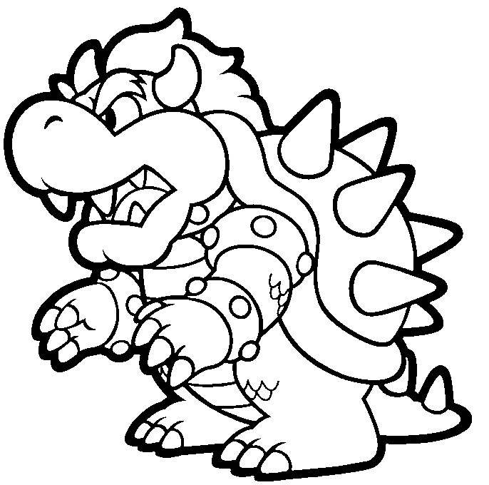 686x680 Super Mario Bowser Coloring Pages To Print Colouring In Amusing