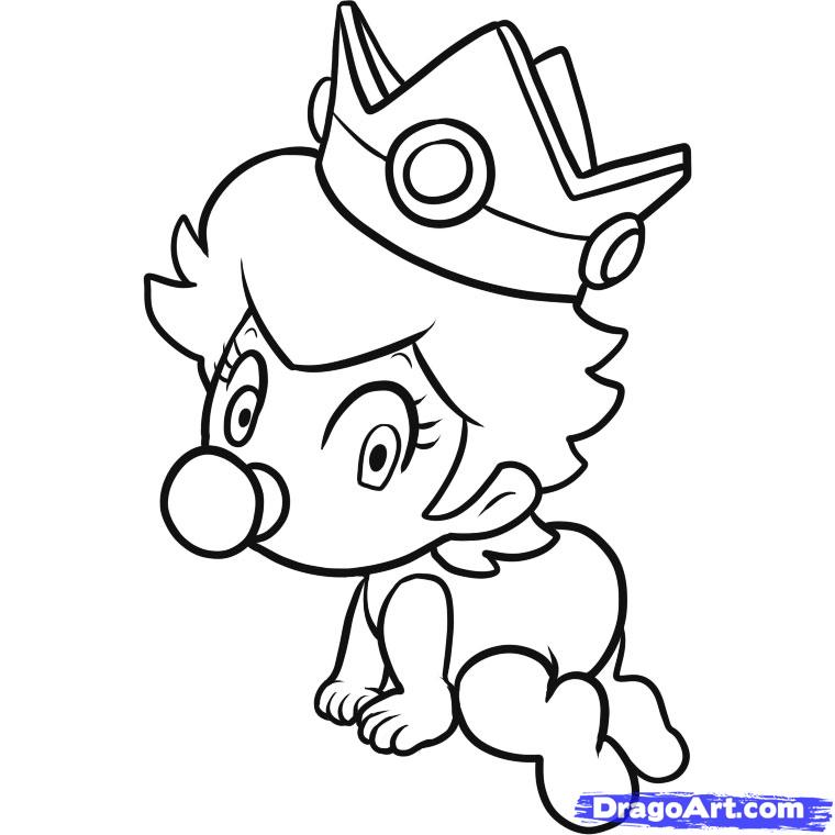 760x760 Baby Princess Daisy With Cute Face Coloring Pages