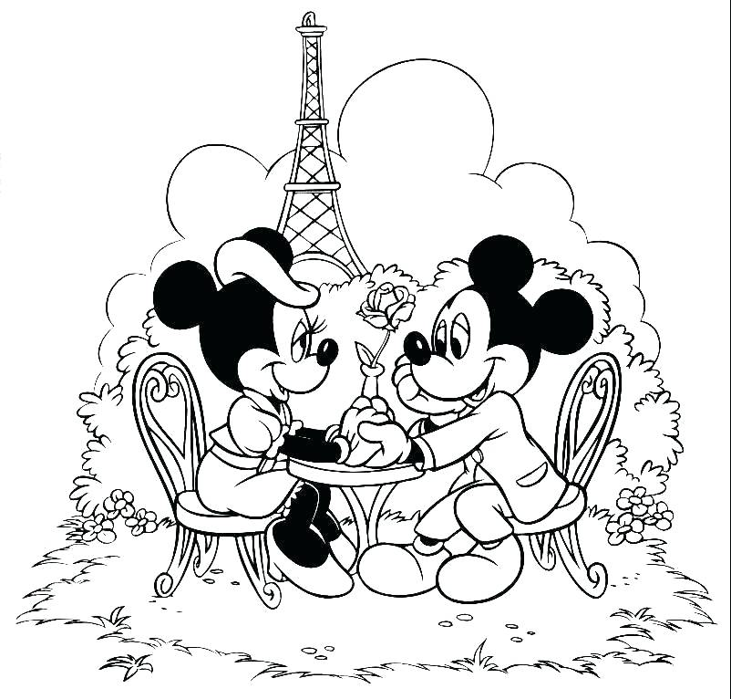 802x766 Mickey Minnie Mouse Christmas Coloring Pages