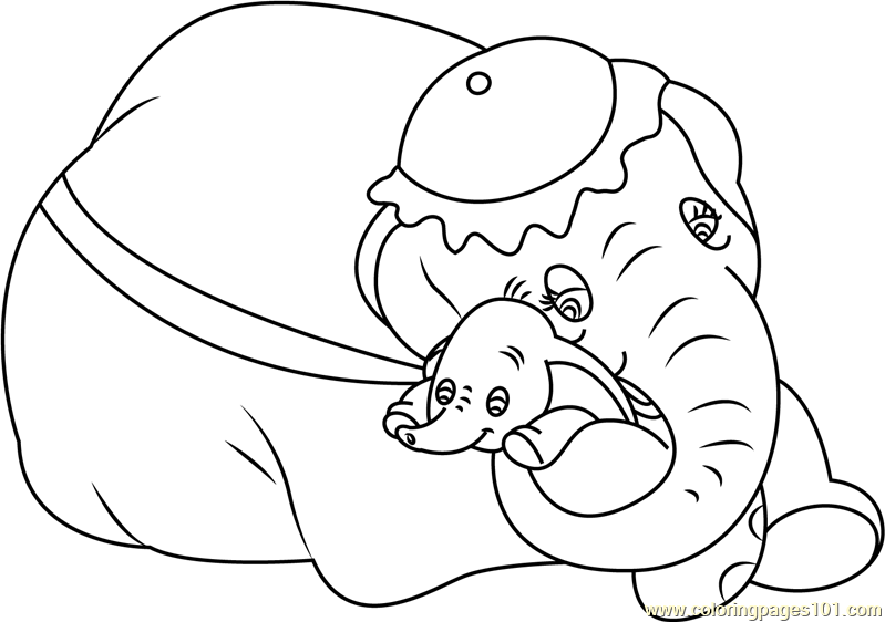 799x562 Mom And Baby Dumbo Coloring Page