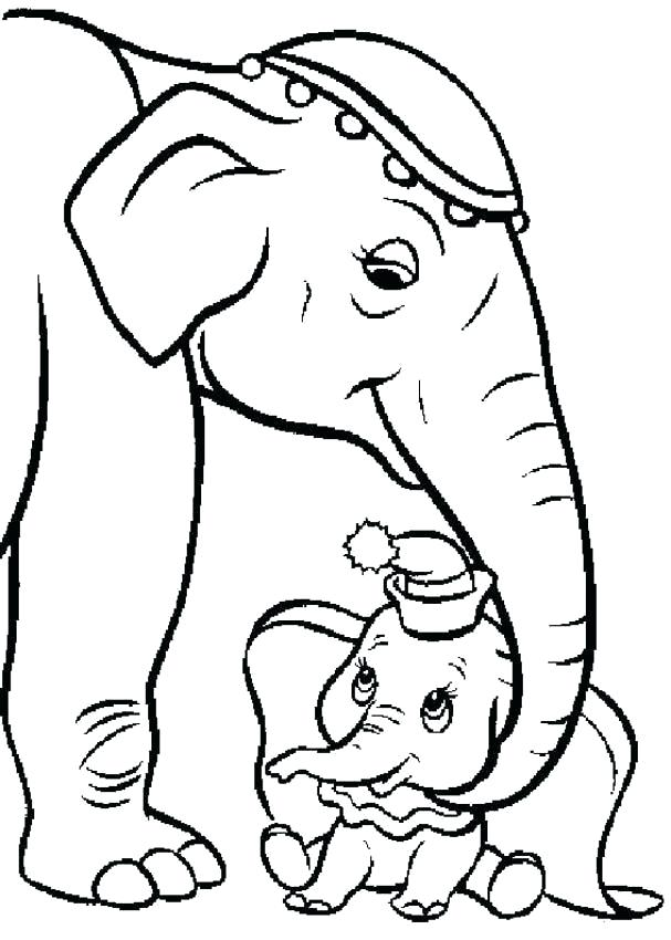 607x850 Mother And Baby Elephant Coloring Pages Dumbo Catty With Baby