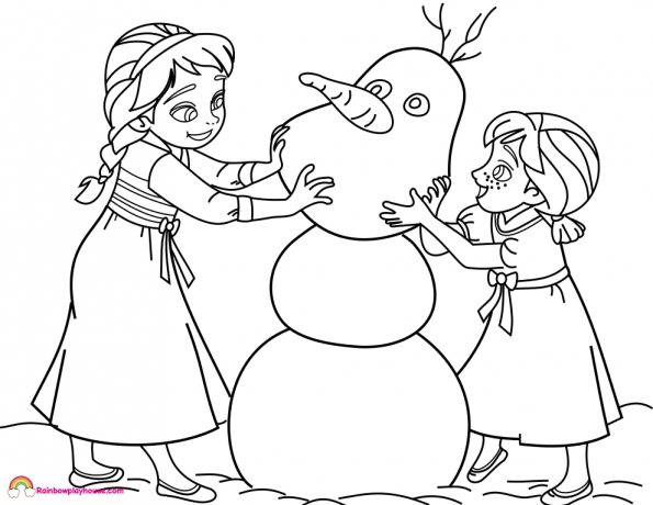 595x460 Baby Elsa Coloring Pages Frozen Ba Elsa And Anna Build Olaf