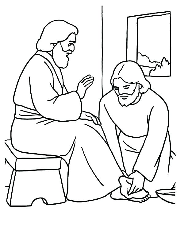 600x765 Feet Coloring Pages Washes The Disciples Feet Coloring Page