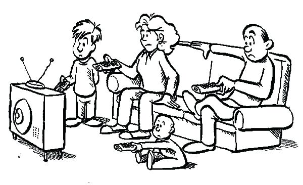 600x366 Tv Coloring Pages Joint Family Everybody Has Remote Control