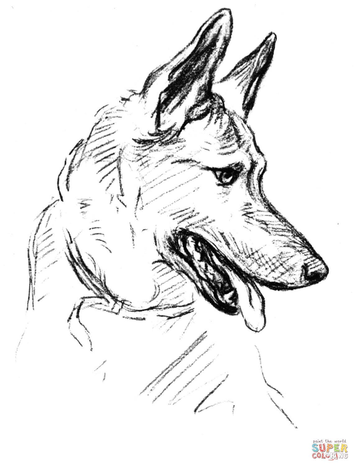 1141x1500 German Shepherd Dog Portrait Coloring Page Free Printable