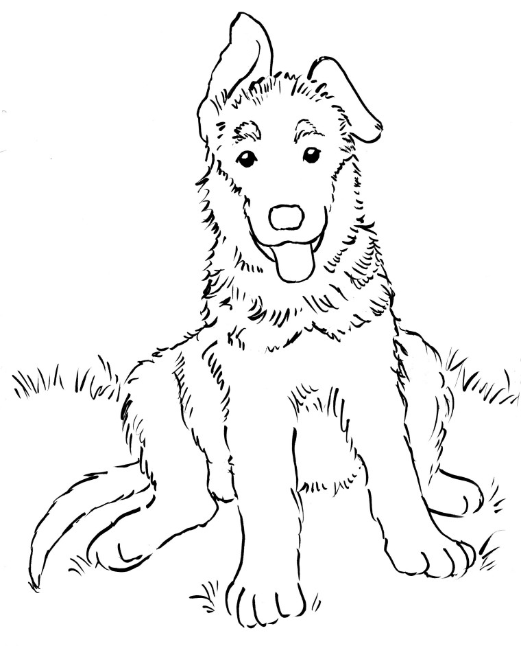 760x941 German Shepherd Puppy Coloring Page
