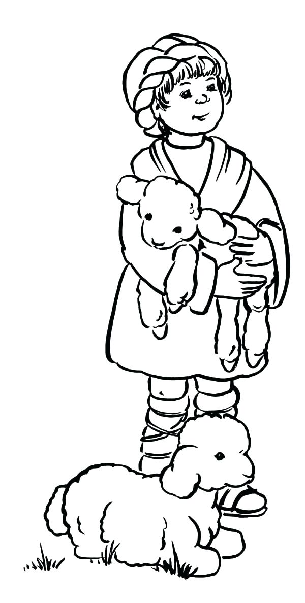 600x1188 Shepherd Coloring Page The Shepherd Boy Take Care His Sheep