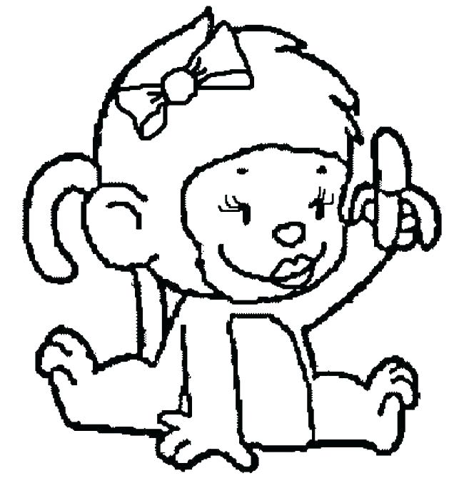 650x670 Monkey Color Page Baby Monkey Coloring Pages Baby Girl Monkey