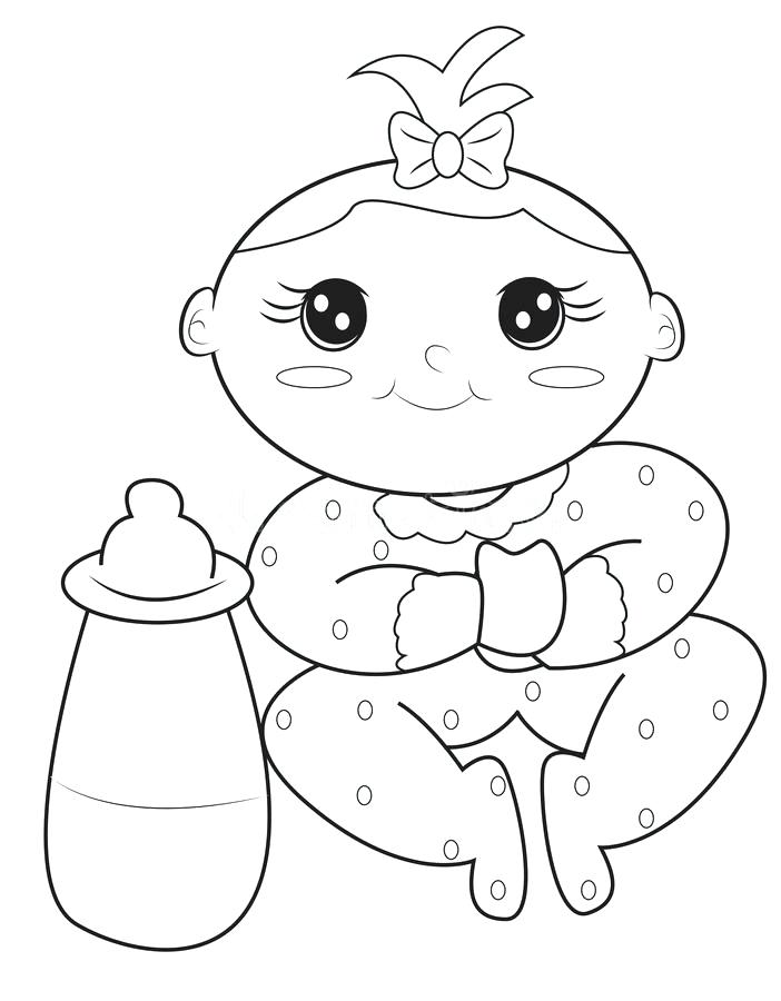 702x900 Baby Girl Coloring Page Stock Illustration Illustration