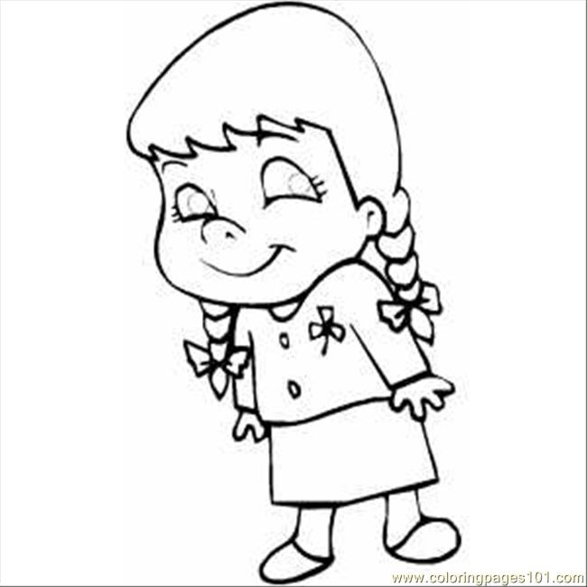 650x650 Smiling Little Girl Coloring Page