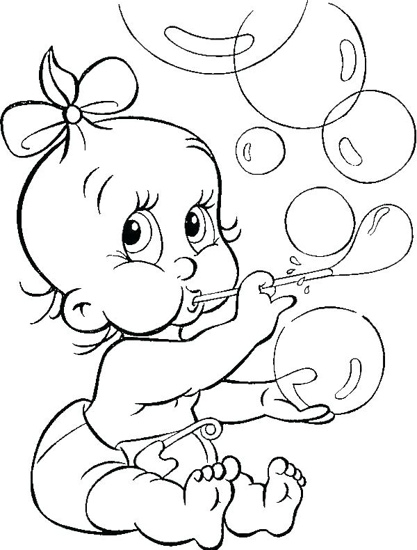 600x790 Baby Girl Coloring Pages
