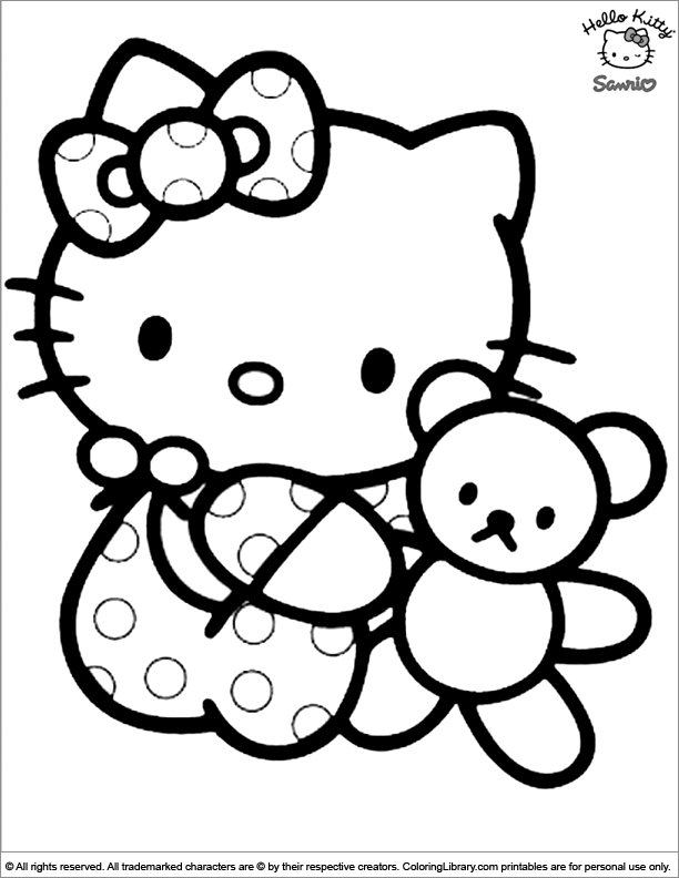612x792 Hello Kitty Coloring Picture