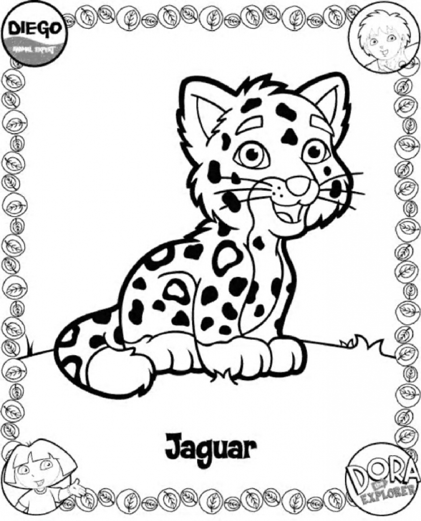 827x1024 Diego Baby Jaguar Coloring Pages Print With Regard To Decorations