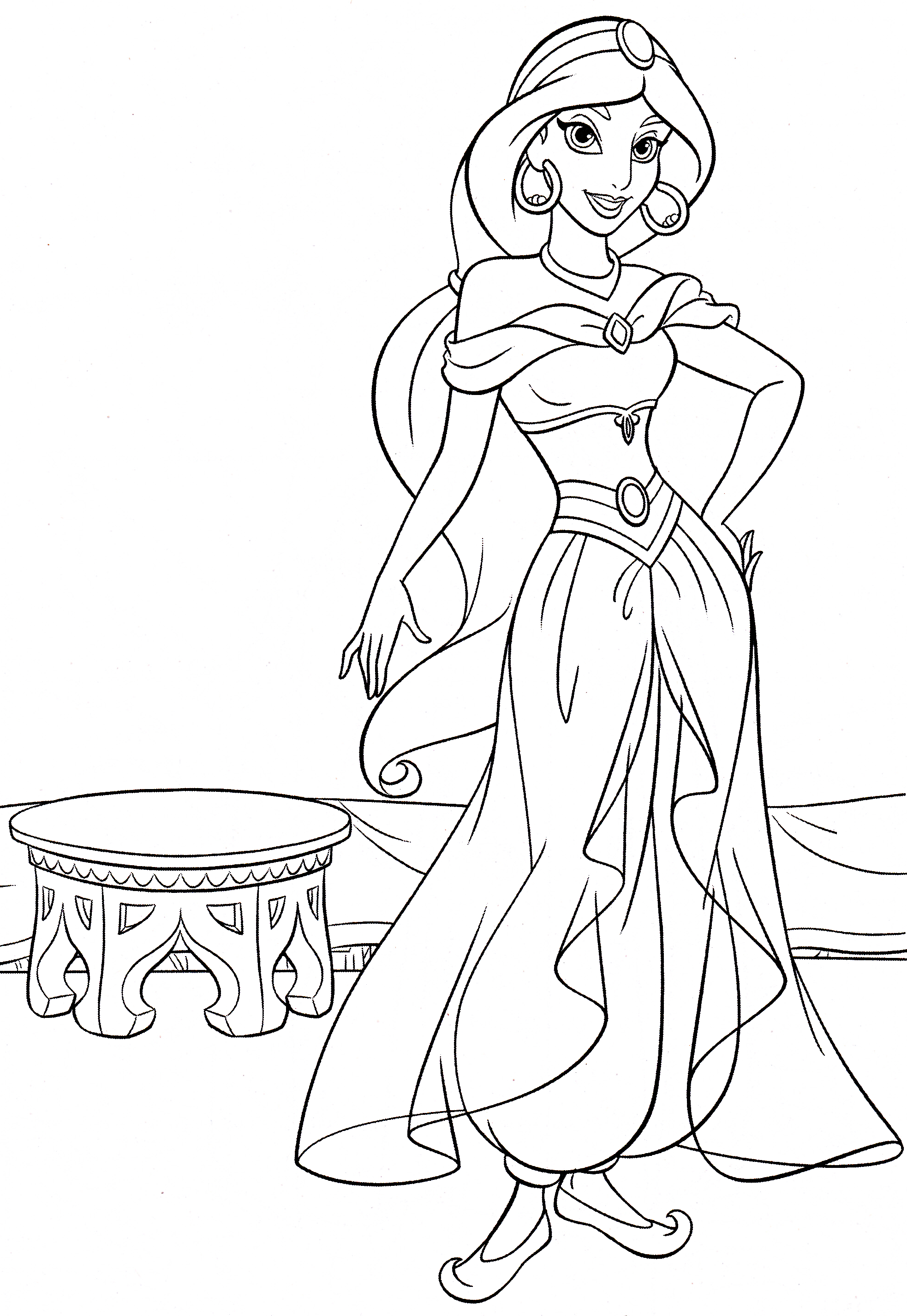 1966x2852 Arabian Princess Jasmine Coloring Page Aladdin Pages General Baby