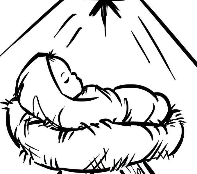 678x600 Baby Jesus Coloring Pages Baby Jesus, Babies And Stenciling