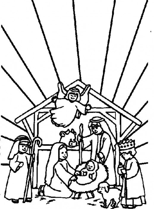 518x703 Bible Christmas Story All People And Angels Welcoming Baby Jesus
