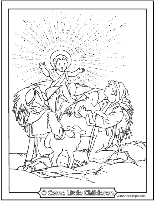 590x762 Merry Christmas Coloring Pages Jesus And Children