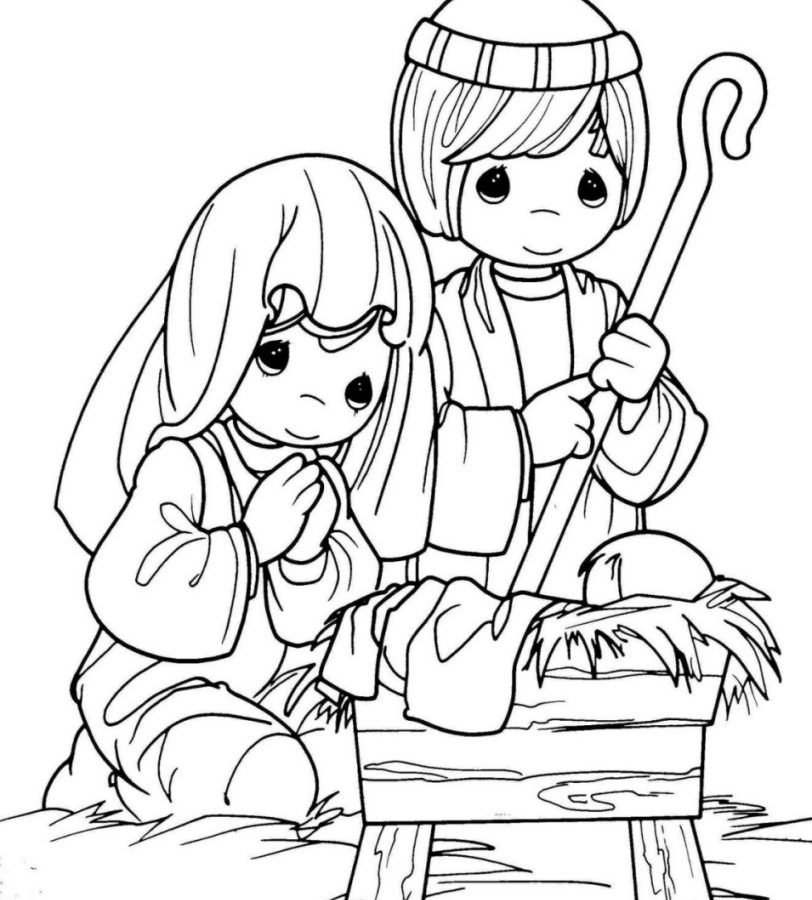 812x900 Nativity Colouring Pages To Print Free Coloring Scene Preschoolers