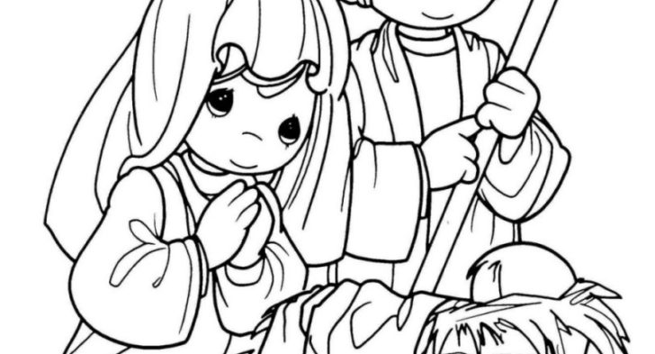 728x393 Nativity Scene Coloring Page Preschoolers Nativity Coloring