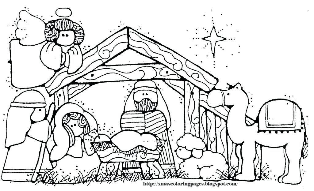 1024x624 Nativity Scene Coloring Pages Icontent