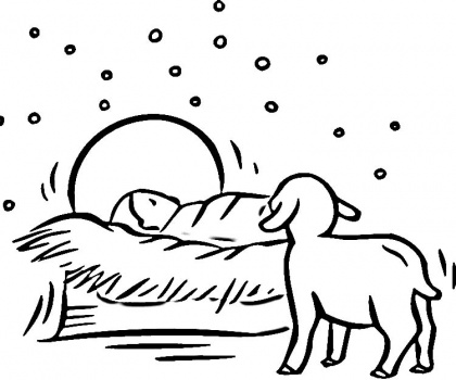 420x350 Baby Jesus In A Manger Colouring Pages, Baby Jesus Manger Coloring