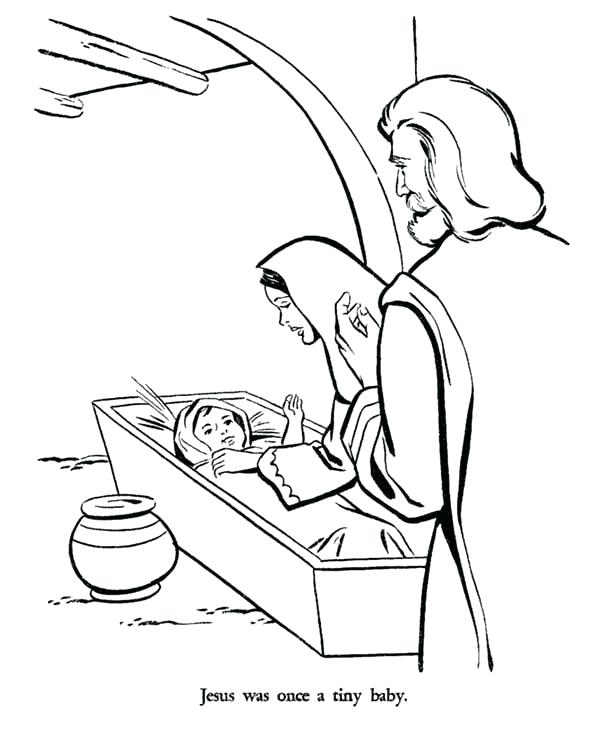 600x734 Baby Jesus Manger Color Pages And Bible Story Coloring