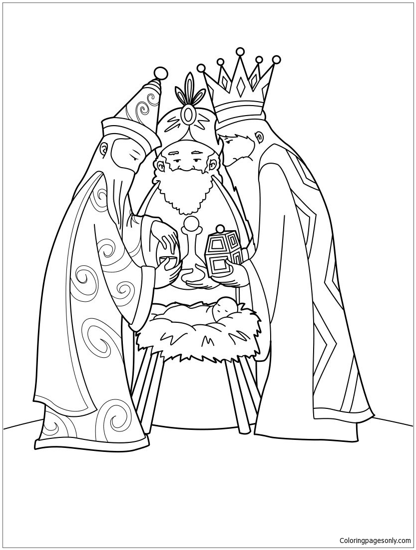 833x1099 Baby Jesus Manger Coloring Pages Nativity Book Colorine Net Within