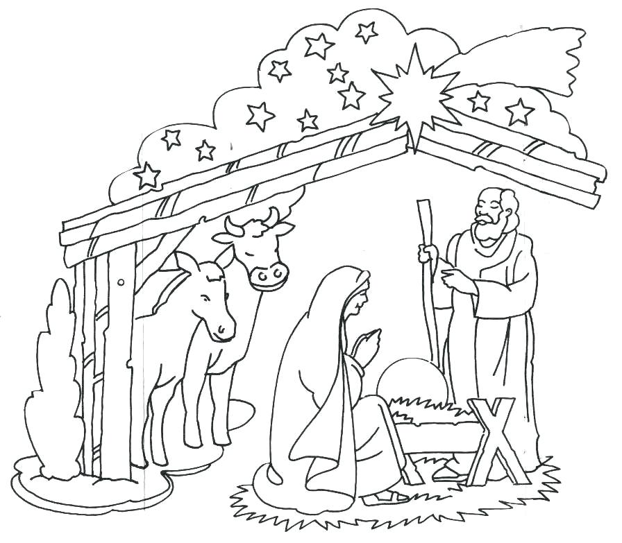 896x783 Jesus In A Manger Coloring Page