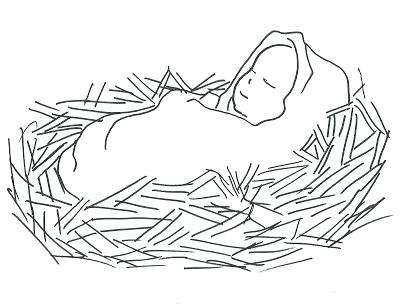 400x304 Baby Jesus In A Manger Coloring Pages Manger Coloring Page Manger