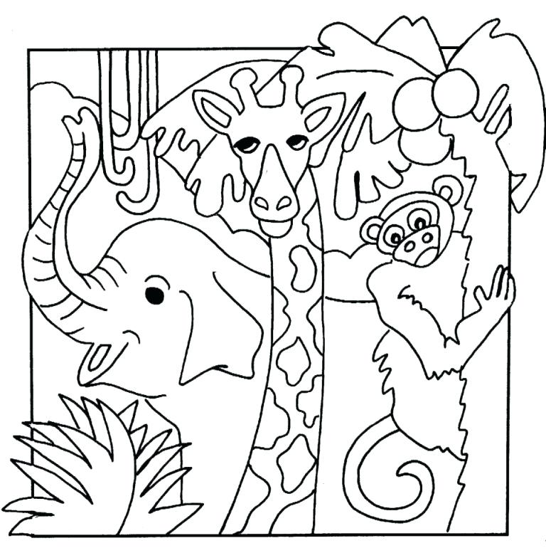 768x770 Baby Jungle Animals Coloring Pages Birthday Coloring Pages