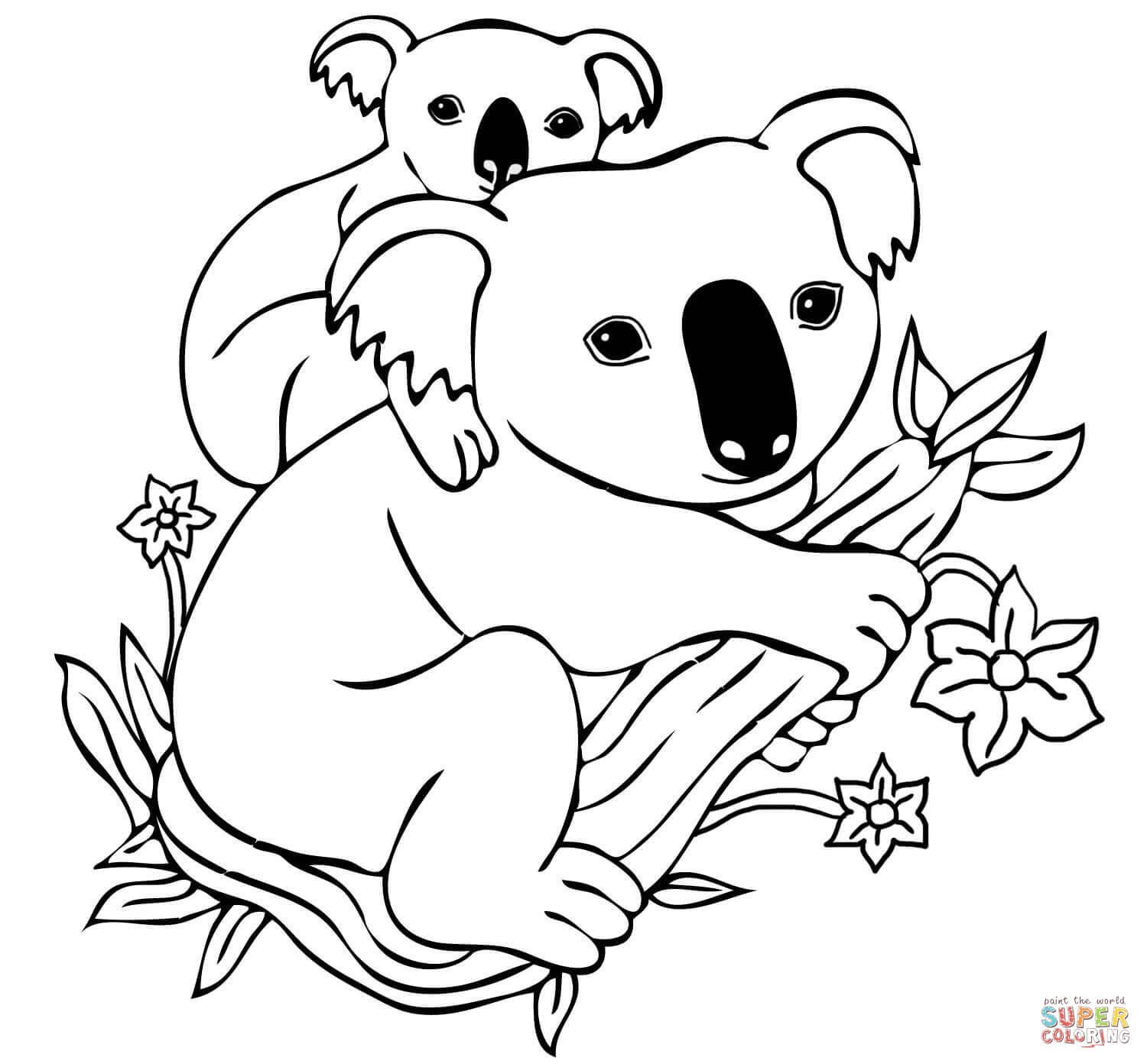 1500x1392 Baby Koala On Mothers Back Coloring Page At Koala Coloring Pages