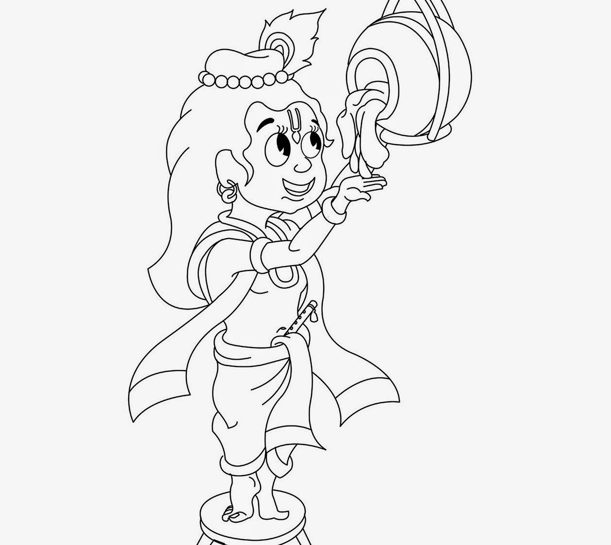 1259x1123 Little Krishna For Kid Coloring Drawing Free Wallpaper Anggela