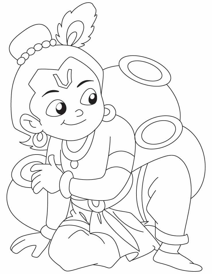 738x954 Krishna Coloring Page Little Krishna Party