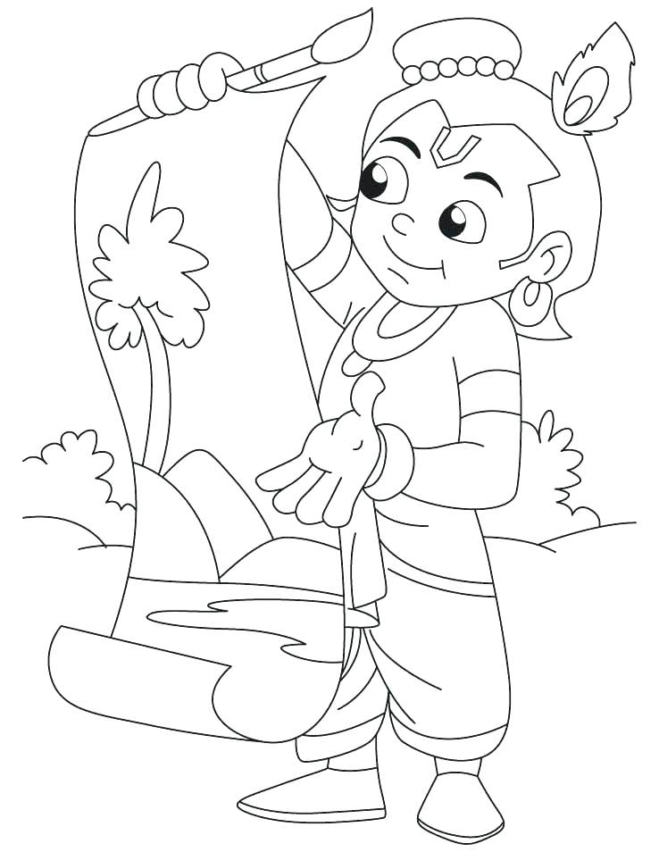 738x954 Little Krishna Coloring Pages