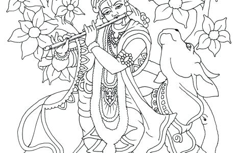 470x300 Coloring Pages Of Little Krishna Playing Flute Page Places