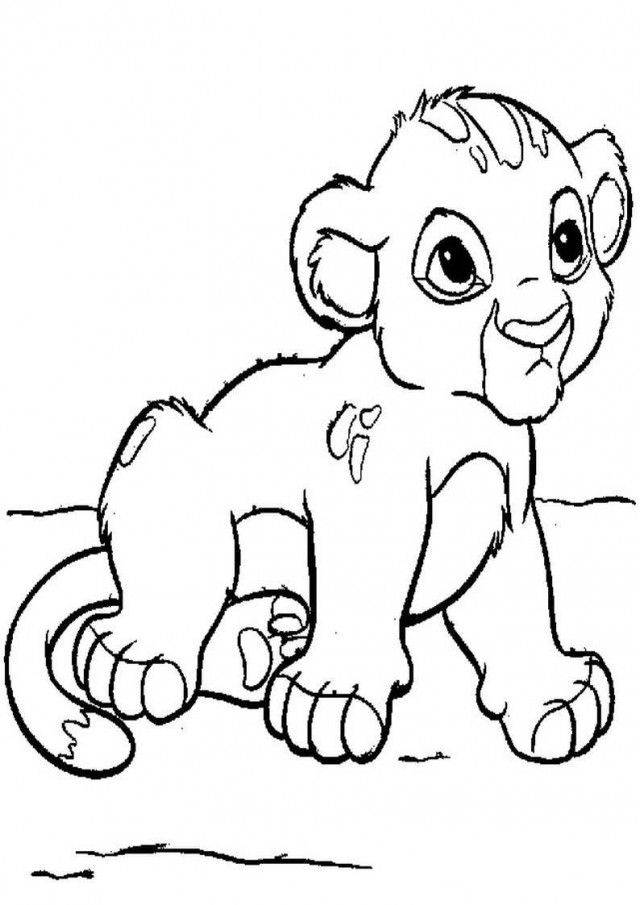 640x905 Baby Lion Cub Coloring Pages For Kids Printable Baby Lion