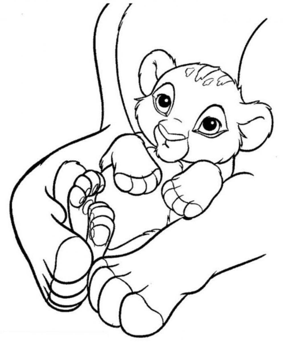 1014x1200 Baby Simba In Hands Free Coloring Page Animals, Disney, Kids