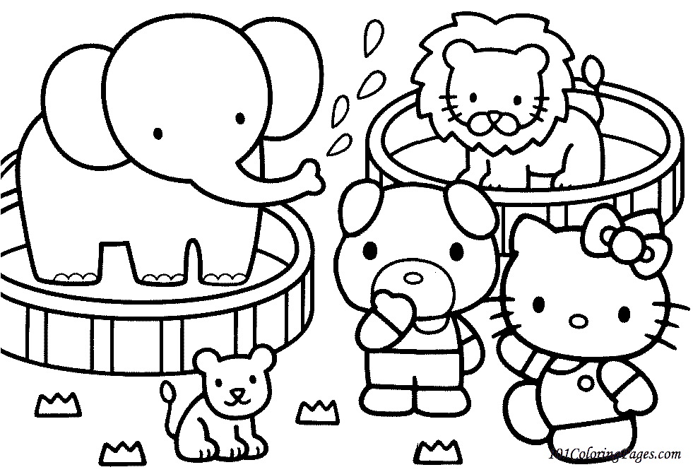 981x668 Free Printable Kitty Coloring Page With Cute Elephant Also Baby