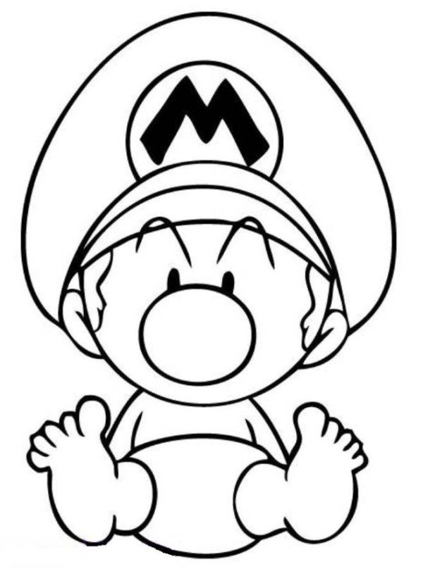 600x818 Mario Coloring Pages Baby Mario Coloring Pages Mario Kart
