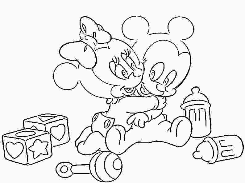 794x595 Baby Mickey Mouse Friends Coloring Pages Minnie And Mickey