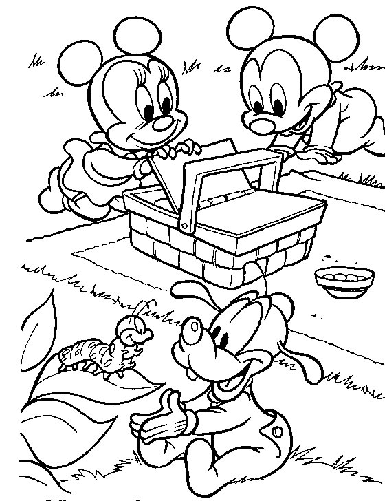 560x728 Baby Mickey Mouse And Minnie Mouse Coloring Pages