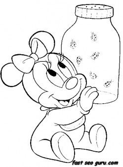 249x338 Printable Disney Characters Baby Minnie Mouse Coloring Pages