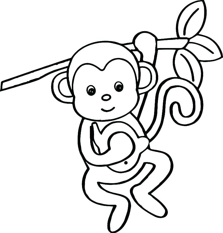 764x800 Monkeys Coloring Pages Cute Cartoon Monkey Coloring Pages Kids