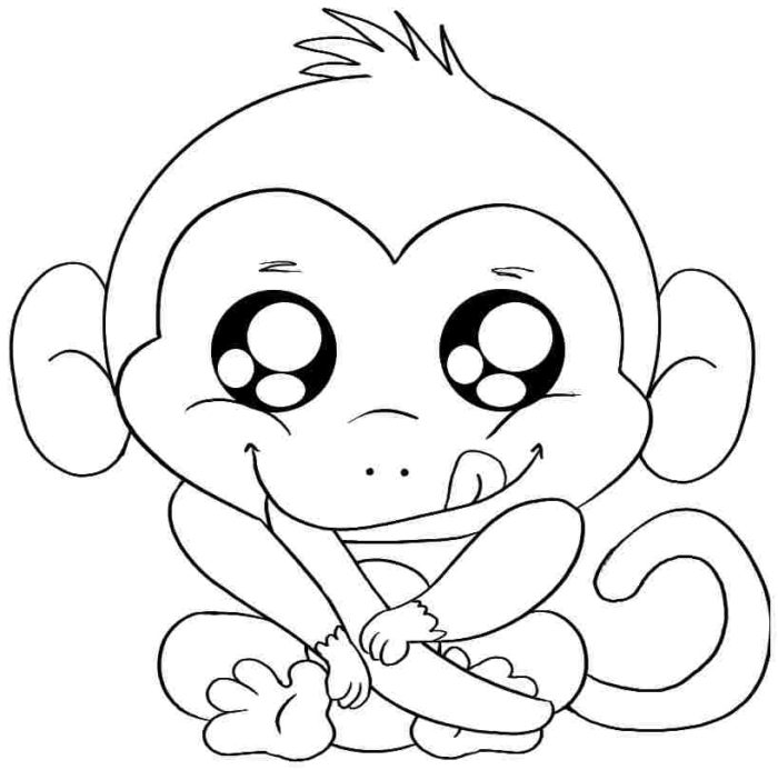 700x693 Baby Monkey Coloring Pages Ba Monkey Coloring Pages Cute Monkey